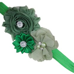 Baby Toddler Pearl Chiffon Flower Headbands Hair Band Infant Fabric Cute Soft Accessories Green - Intl