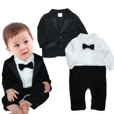 Baptismal Outfit Clothing Bodysuit Baby Tuxedo Set Bodysuit w  Coat Vest  Suit Bowtie Boys Clothing 235fbdf979