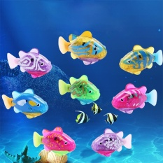 Battery Operated Robo Fish Toy Water Activated Clownfish with LED Kids Bath Toy (8PCS)