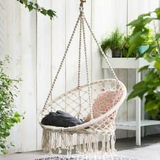 Beige Hanging Cotton Rope Macrame Hammock Chair Swing Outdoor Home Garden 120kg - Intl By Audew.