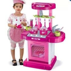 Best Quality Kitchen Cooking Toy Play Set With Lights Sounds Pink