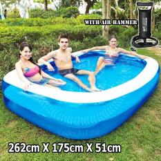 Bestway Blue Rectangular Pool (262cm X 175cm X 51cm) With Bestway Air Hammer ™ Inflation Pump By Lucky313.