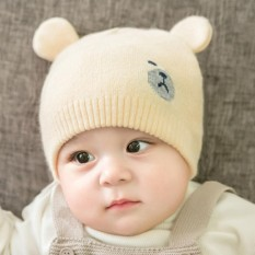 786e17a7d9a blackhorse Winter Baby Knitted Hat With Two Ear Boy Girl Cute Bear Shape  Beanie Kids Caps