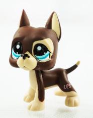 Brown Great Dane Dog Dot Eyes Kids Toys Blue Eyes Littlest Pet Shop LPS 1519 -