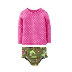 Baby Girl 2-Piece Rash Guard Swimwear Set By Milkshake Babies.