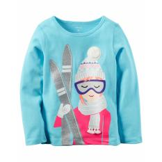 Carters Long-Sleeve Ski Girl Graphic Tee 12m By Memory Lane Store.