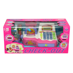 Check-out Cash Register Toy Pretend Play Set for Girls (Pink)