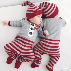 920a59b76 Christmas Newborn Baby Girls Boys Rompers Jumpsuit+Hat 2Pcs Set Outfit  Clothes - intl