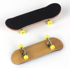 Complete Wooden Fingerboard Finger Skate Board Grit Box Foam Tape Maple Wood Yellow - Intl By Rilakku.