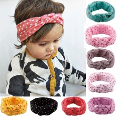 Cotton Babies Hairband Elastic Lovely Printing Knot Design Hair Accessories Kids Wave Point Headband- Grey