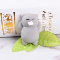 Cute Expression Cat Ball Squishy Soft Bread Cell phone Straps Bun Key Chains Grey - intl