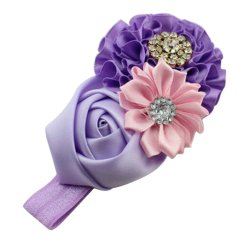 DHS Baby Girls Headband Ribbon Rose Hair Band Head Hair Accessories (Purple) - Intl