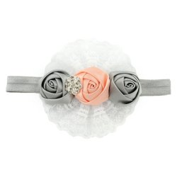 DHS Lace Ribbon Elastic Headbands (Grey) - Intl