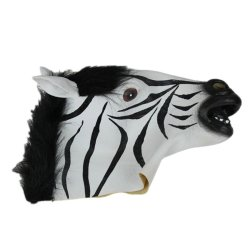 DHS Zebra Head Mask Rubber Costume Masks (White/black) - Intl