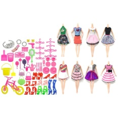 Dolls Accessories Kit 8 PCS Fashion Girl Doll Toy Summer Dresses Gown  Outfits Clothes + 55 ecd0fd50944f