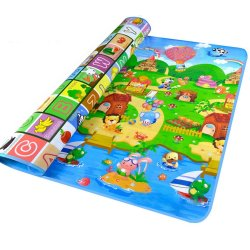 Double Sides Non-slip Waterproof Fruit Animals Letter Baby Kid Care Crawling Floor Play Game Mat Pad for Indoor Outdoor Use 200 x 180cm