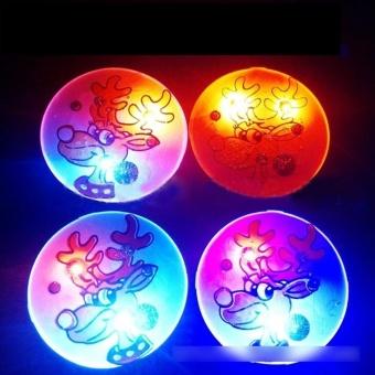 Eason 1PCS Christmas LED Flash Light Brooch Pin Badge Light Up Toys,Round Christmas Deer Hot Sale - intl