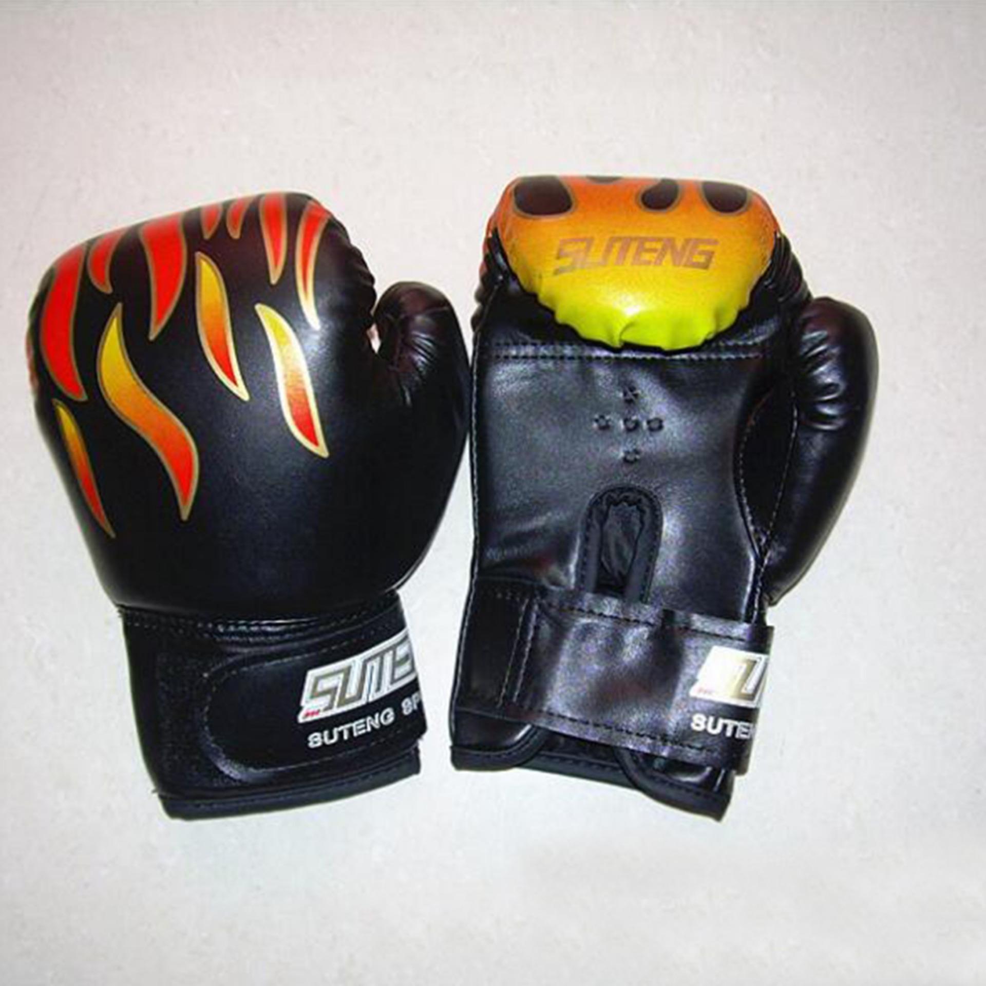 Feng Sheng Flame Children Boxing Gloves Sibling Bashing Sandbag Taekwondo Muay Thai Fight Training-Black