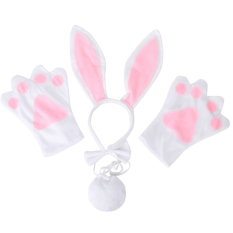 Gds Rabbit Cosplay Christmas Halloween Costume Outfit Headband Glovestie Tail Set Of 4 (white) - Intl By Gargon D Store.
