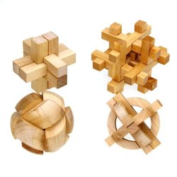 HKS Wooden IQ Brain Teaser 3D Interlocked Puzzle Jigsaw Cube Toy Preschool Kid 4pcs - Intl