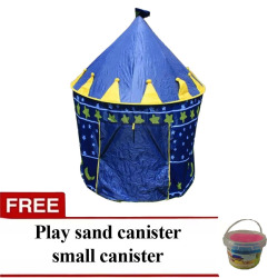 H801 Kids Castle Tent Blue with Free Play Sand Small Canister