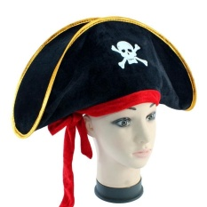 Halloween Caribbean Pirate Captains Felt Hat Make Up Party With Red Band - Intl By Litao.
