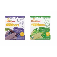 Happy Baby Bundle Of Gentle Organic Teething Wafers Purple Carrot And Blueberry, Pea And Spinach By Chubby Cheeks Baby.