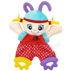 HKS Baby Infant Cute Plush Toy Comfort Towel with Sound Paper and Teether Girl - Intl