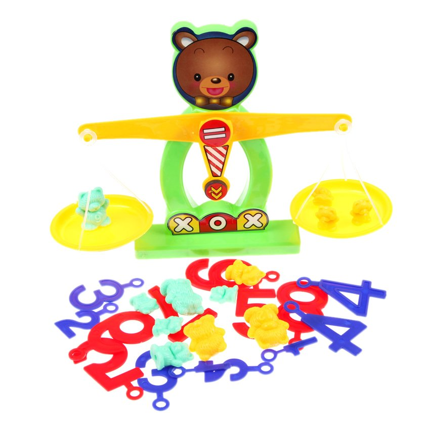 HKS Balance Beam Scale Measuring w Bear Weights Numbers Preschool Kids Toy - Intl - thumbnail