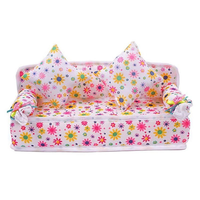 HKS Chic Mini Furniture Flower Soft Sofa Couch With 2 Cushions For Doll House - Intl product preview, discount at cheapest price
