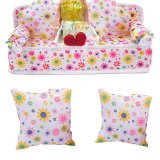 HKS Chic Mini Furniture Flower Soft Sofa Couch With 2 Cushions For Doll House - Intl - thumbnail 1