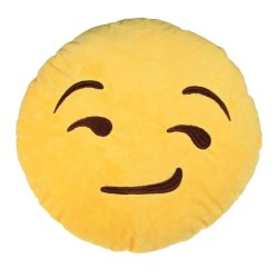 HKS Cute Emoticon Yellow Round Cushion Pillow Stuffed Plush Toy Smirking Style - Intl