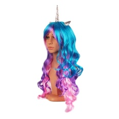 Halloween you must have it Hot Little Pony Womens Unicorn Princess Rainbow Cosplay  Wig Long Curly ac549166f6