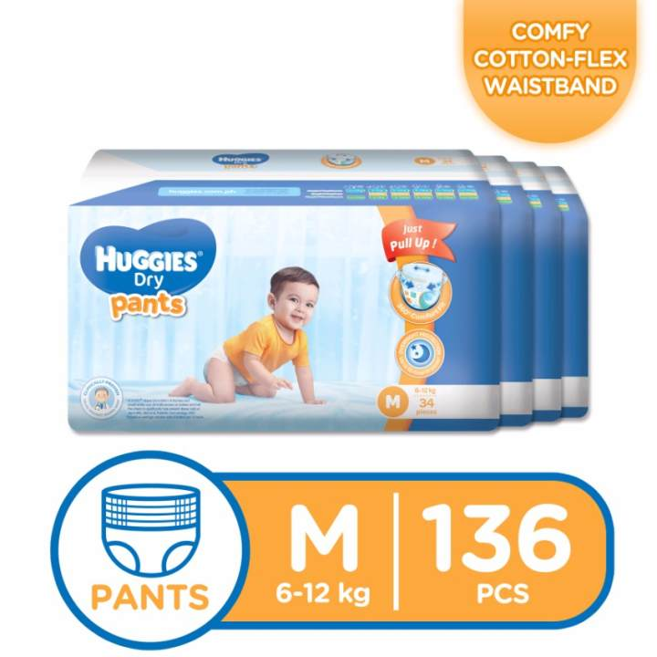 Huggies Dry Pants Medium - 34 pcs x 4 packs (136 pcs)