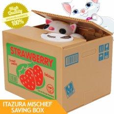 Itazura Mischief Saving Box Cat Coin Bank (strawberries) By Mega Deal.