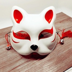 Japanese Fox Half Mask With Tassels And Small Bells Cosplay Mask For Masquerades Festival Costume Party Show Style:cat E - Intl By Lucky Girl Store.