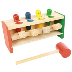 Kid Baby Toddler Educational Wooden Toy Colorful Smile Face Pegs Game Hammering Pounding Bench Education Toy With Mallet By Stoneky.