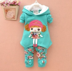 Kids Clothes Girls Clothes Set Autumn Winter Thick Warm Hooded 2017 2pcs Cartoon Cute New Baby