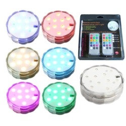 LED Submersible 10 Lamp Cap Candle Color Waterproof Party Decoration RC