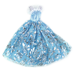 Light Blue Bridal Wedding Lace Dress With Silver Rose Print For Doll