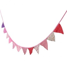 MagiDeal Rustic Floral Banner Fabric Pennant Wedding Birthday Party Decoration Red