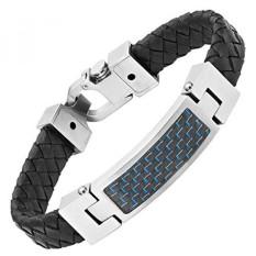 Mens Black Leather Blue Carbon Fiber Bracelet Engraved I Love You In Gift Box By Willis