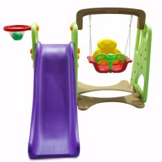 Mini Indoor/Outdoor Swing And Slide Set Playground With Basketball Ring For  Kids (Purple
