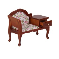 Miniature Furniture Wooden Floral Recliner w/ Drawer