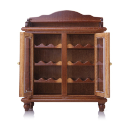 Miniatures Living Room Furniture Wooden Wine Cabinet Walnut