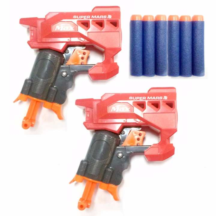 Nerf Gun Super Mars Soft Bullet Toy Gun Set of 2 Bundle Showdown Red