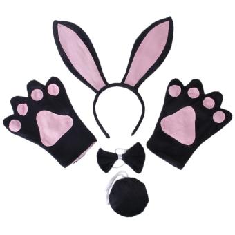 New Black Rabbit Cosplay Christmas Halloween Costume Outfit Headband Gloves Tie Tail 4pcs Set