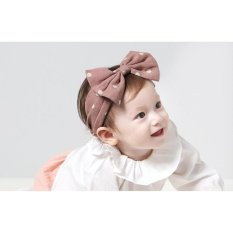 New Fashion Cotton Wave Point Bowknot Baby Headbands Girl Elastichair Bands-Pink - intl