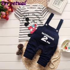 New Fashion Summer Baby Boys T-Shirt +Straps Pants Clothes Set Newborn Child Cartoon