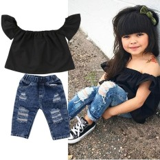 20cc376dd3ebc3 New Toddler Kids Baby Girls Off Shoulder Tops Denim Pants Outfits Set  Clothes - intl